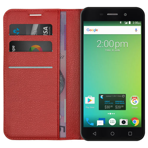 Leather Wallet Case & Pouch for ZTE Telstra 4GX Premium A602 - Red